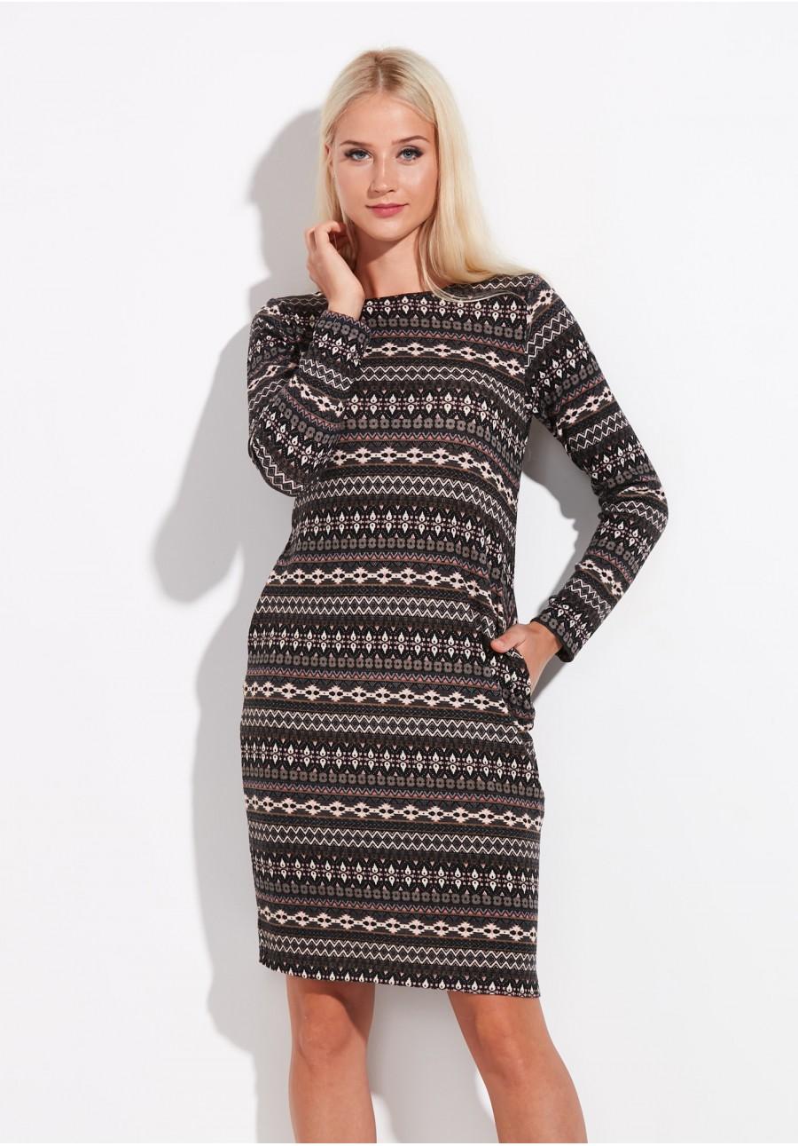d51de250d0 Beżowa Dzianinowa sukienka z kieszeniami
