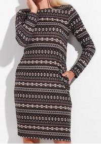 Beżowa Dzianinowa sukienka z kieszeniami