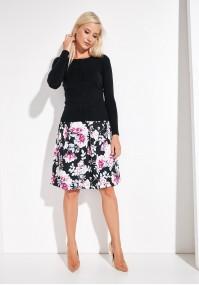 Czarna rozkloszowana spódnica w kwiaty