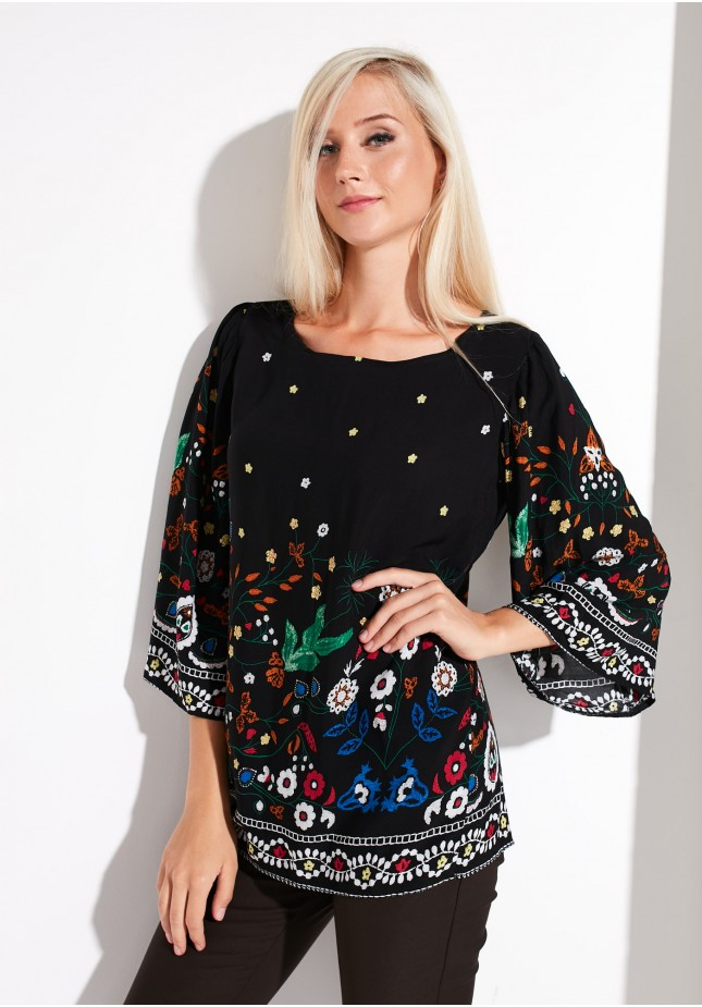 Black Viscose Blouse with Flowers