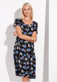 Loose Black Dress with Flowers