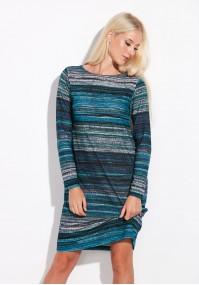 Dzianinowa turkusowa sukienka w paski