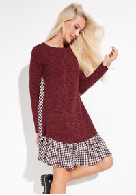 Burgundy Dress with checkered Frill