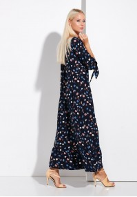 Dark blue Long Dress with Frill