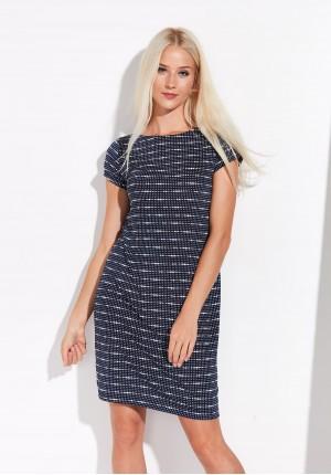 Granatowa prosta sukienka w groszki