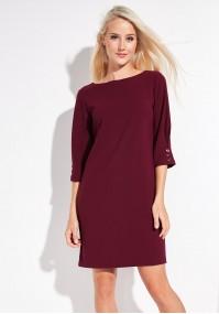 Bordowa prosta sukienka