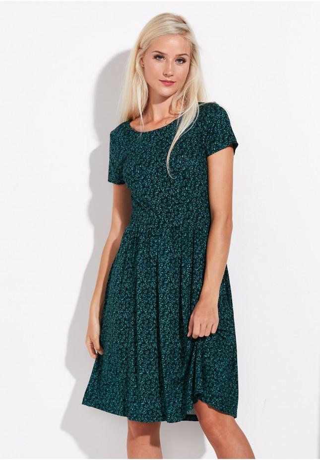 Ciemnozielona Odcinana Sukienka