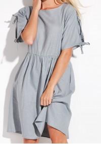 Szara lniana sukienka