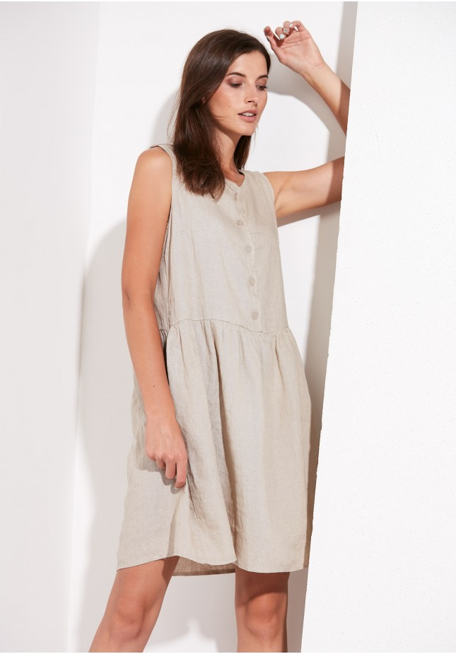 Linen dress with pockets