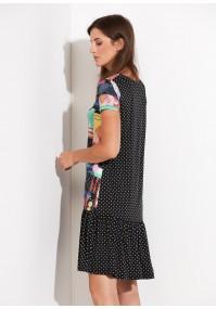 Wielobarwna sukienka z czarną falbaną w groszki