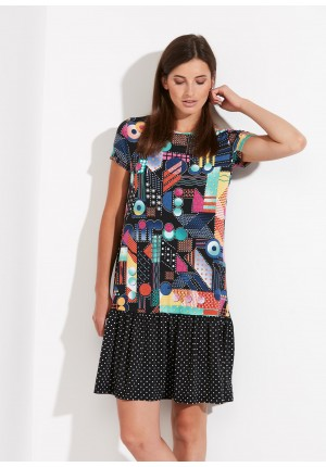 Multi-colored Dress with frill