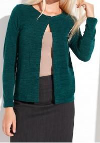 Ciemnozielony sweter na jeden guzik