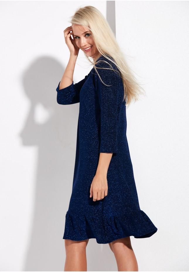 Granatowa Sukienka z falbaną
