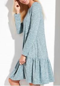Miętowa Sukienka z falbaną
