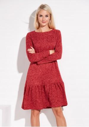 Czerwona Dzianinowa Sukienka z falbaną