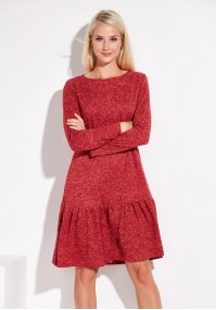 Red Knitted Dress with frill