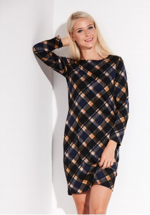 Black and Yellow Checked Dress