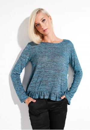 Turkusowy Sweter z falbaną