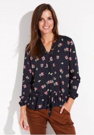 Navy Blue Blouse with flowers