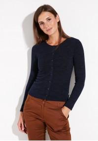 Granatowy Sweter z guzikami