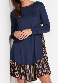 Navy Knitted Striped Dress