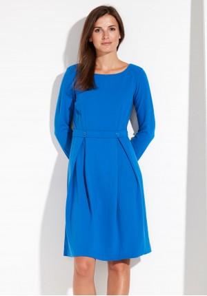 Tapered Waist Blue Dress