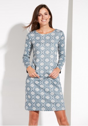 Blue and Grey Dress with Pockets