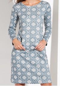 Niebiesko - Szara Sukienka z kieszeniami