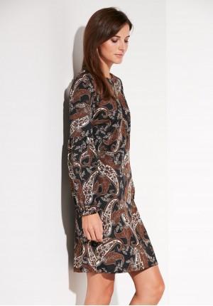 Brązowa Sukienka Paisley