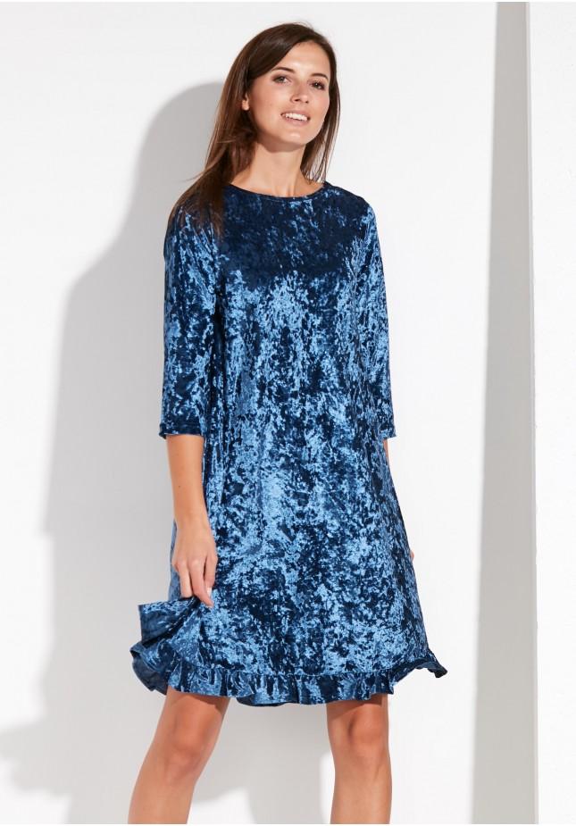 Welurowa Sukienka z Falbaną