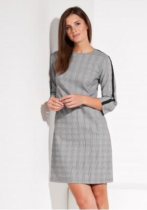 Sukienka w kratę z lampasem