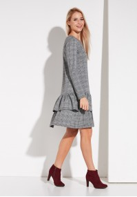 Checkered Dress with Frill