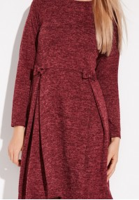 Burgundy Dress with pleat