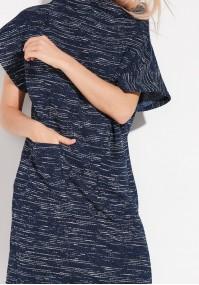Granatowa Sukienka półgolf