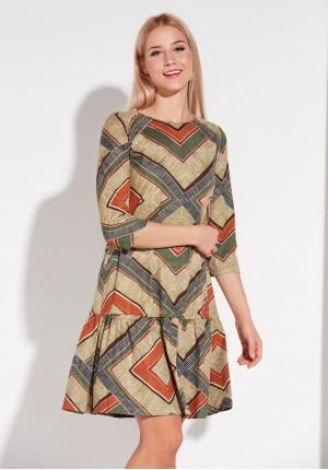 Aztecka Sukienka z falbaną