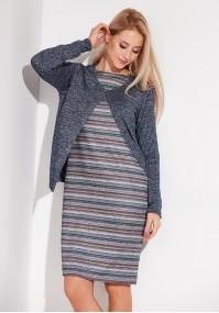 Granatowy sweterek na jeden guzik
