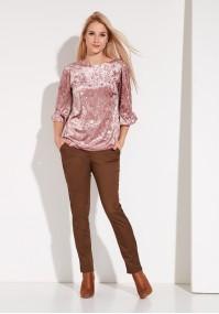Różowa Welurowa Bluzka