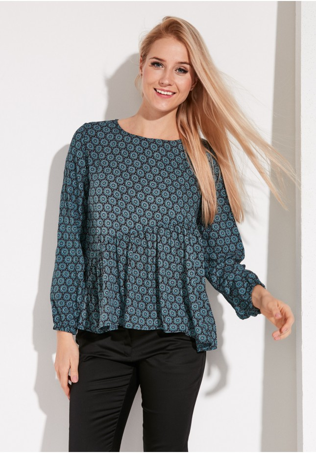 Blouse with asymmetrical frill