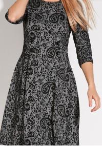 Szara taliowana Sukienka