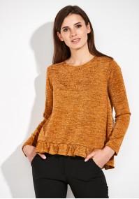 Miodowy Sweter z falbanką
