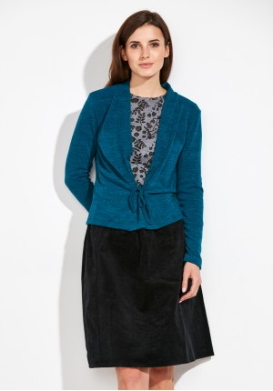 Turkusowy wiązany Sweter