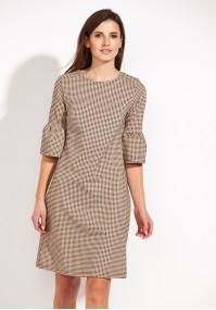 Beżowa Sukienka z rozkloszowanymi rękawami
