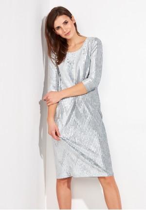 Welurowa prążkowana Sukienka