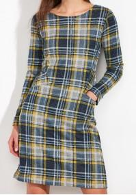 Żółto-szara Sukienka z kieszeniami