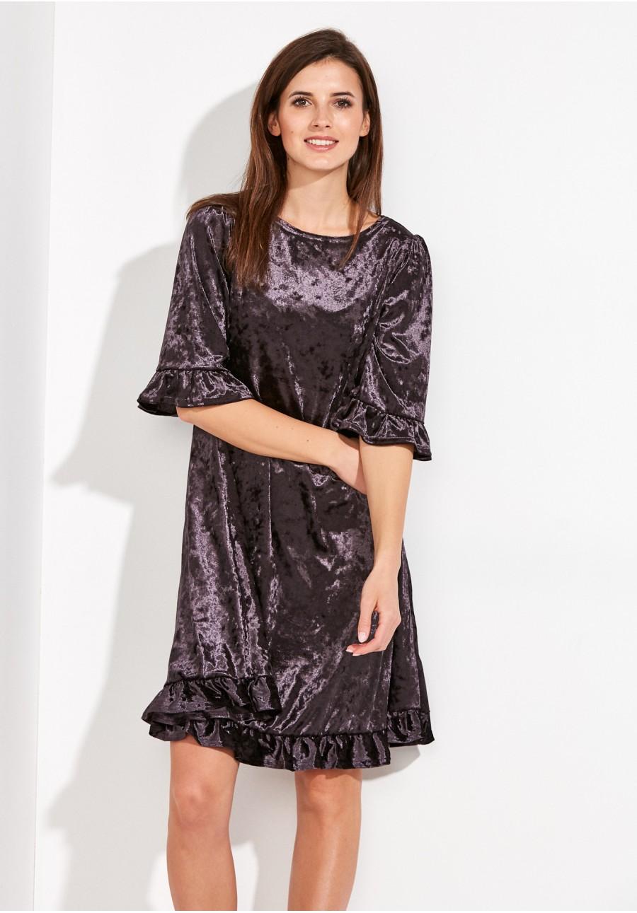 2526ba8426 Trapezowa Sukienka z weluru