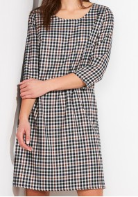 Simple Dress in navy blue check