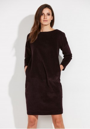 Dark violet corduroy dress