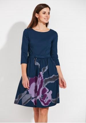 Granatowa Sukienka z kwiecistym dołem