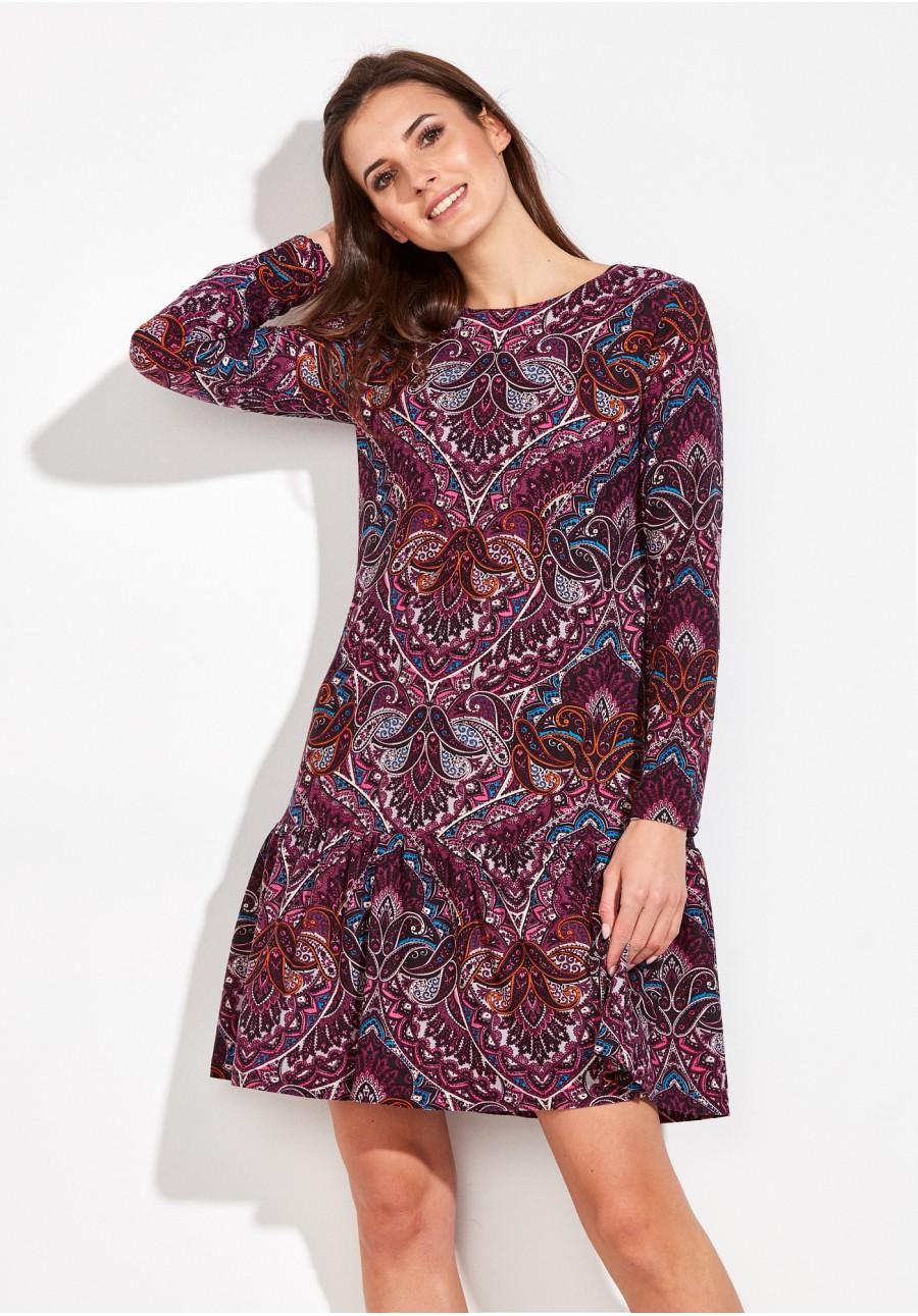 9f0fb73d Wzorzysta Sukienka z falbaną