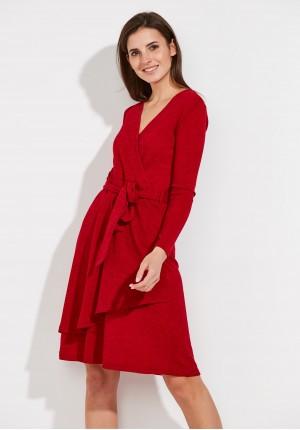 Czerwona Sukienka z wiązaniem